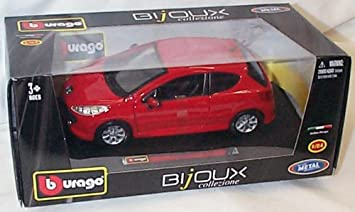 burago red peugeot 207 car 1.24 scale diecast model: Amazon.co.uk ...