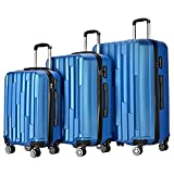 3 Piece Carry On Spinner Wheels Luggage Sets Travel Trolley Suitcases Bags (Blue)