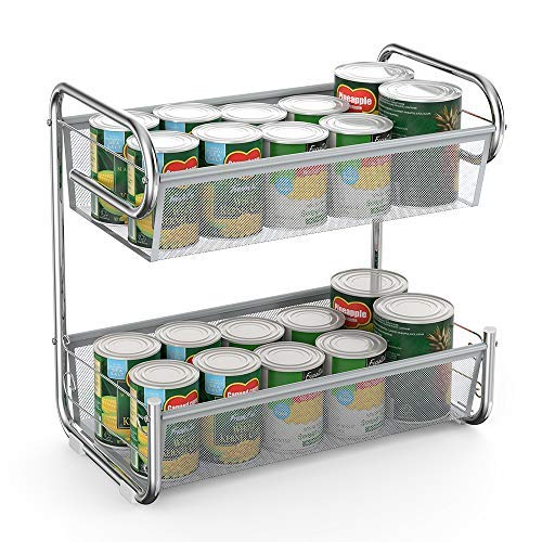 NEX Can Rack Countertop Storage Organizer for Kitchen, Bathroom, 2 Tier, Chrome by NEX