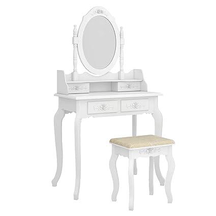 Amazon Com Aukfa Modern Vanity Set Concise 4 Drawer Makeup Desk 360