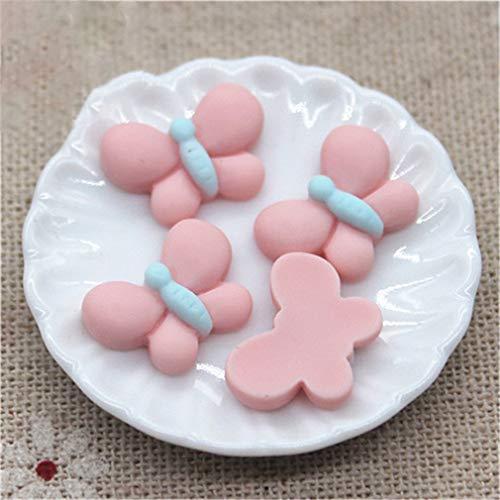 50Pcs Mix Color Small Butterfly Resin Flatback Cabochon Jewelry/Phone/Nail Art Decoration light pink 50pcs]()