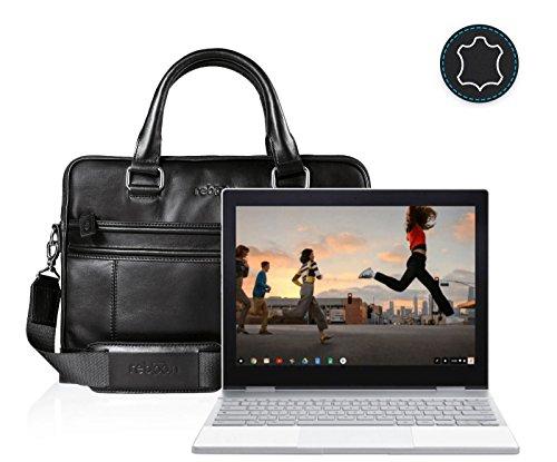 reboon Echt-Leder Laptop-Tasche in Schwarz Leder für Google Pixelbook Touchscreen Chromebook 12 3 | 13 Zoll | Notebooktasche Umhängetasche | Damen/Herren - Unisex | Premium Qualität Schwarz Leder tYH4vVOC