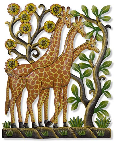 Haitian Hands 'Painted Giraffe Tower' Haitian Handcrafted Metal Art Made from Recycled Steel Barrels ()