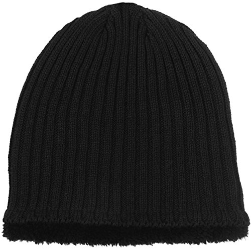 (Polar Wear Men's Sherpa Fleece Lined Knit Beanie (Black))
