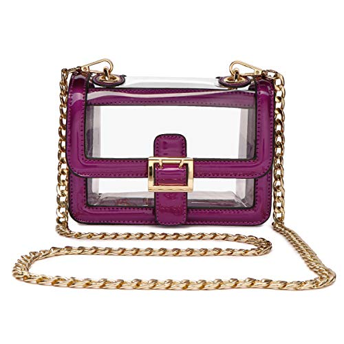 Clear Boxy Shoulder Bag Chain Strap Crossbody Purse - NFL Stadium/Concert Venues Approved (Purple Plastic Purse)
