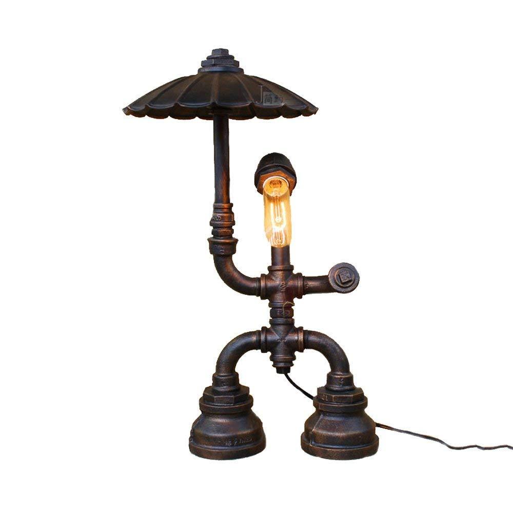 MLSH Wasserrohr Tischlampe, Retro kreative Schreibtischlampe industrielle Wind Leselampe Nachttischlampe (Farbe   B)