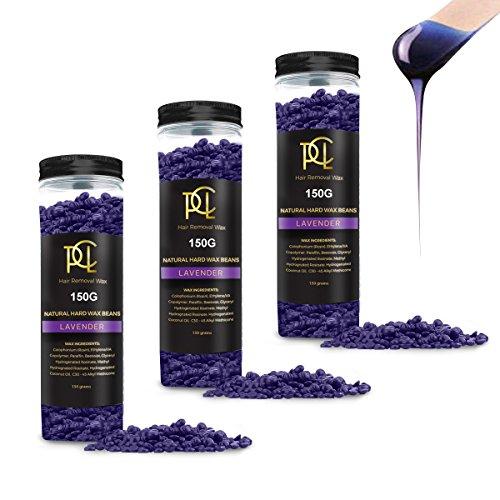 (3 Pack) 450g Hair Removal Wax Beans, Hard Body Wax Beans, Hair Removal Brazilian Pearl Depilatory Wax European Beads for Women Men, All Lavender Flavor