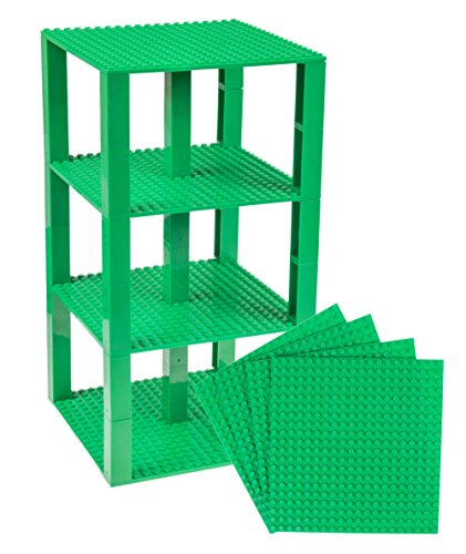 Strictly Briks Classic Baseplates 6 x 6 Brik Tower 100% Compatible with All Major Brands   Building Bricks for Towers and More   4 Green Stackable Base Plates & 30 Stackers