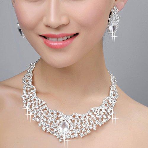 Ever Faith - Cristal Autrichien Fleur Goutte Parures Bijoux Plaqué Argent Transparent A06912-8