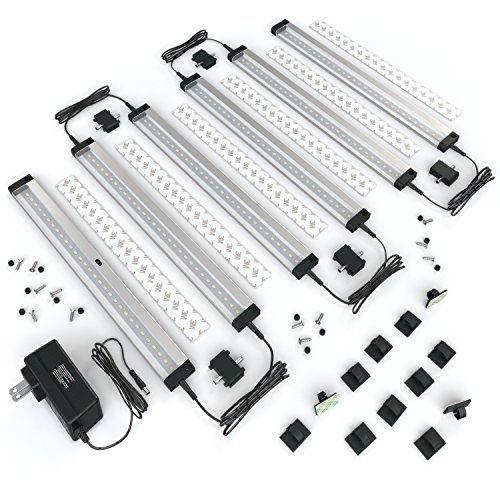 [New] EShine 6 Panels LED Dimmable Under Advisors Lighting Kit! Hand Wave Activated - Touchless Dimming Control - Bright, Strong and Stable - Easy to Install - Deluxe Kit, Hospitable White (3000K)
