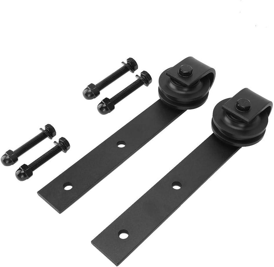 Heavy Duty Sturdy Sliding Barn Door Hardware Kit Basic Sliding Track Hardware Kit-Easy to Install-Smoothly and Quietly Black