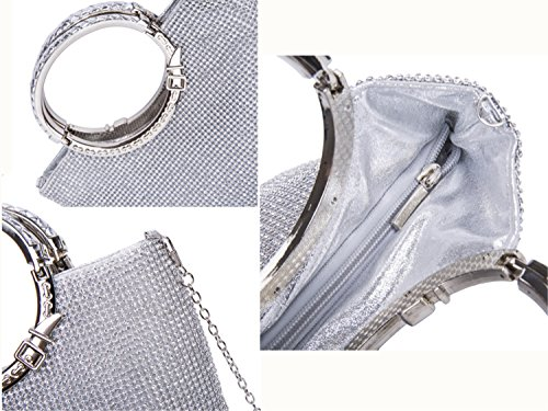 Handbags Clutches Silver Silver Bags Bridal Dinner Crystal Rhinestone Prom Party Ladies Evening Wedding Purses for Women's IAw5pHqx