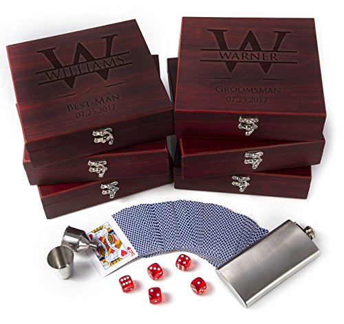 Set of 6 - Premium Groomsmen Gifts for Wedding, Personalized Flask Set + Playing Card, Dice |Rosewood Finish Flask Gift Set - Groomsman Gift, Customized Groomsman Flasks,Wedding -