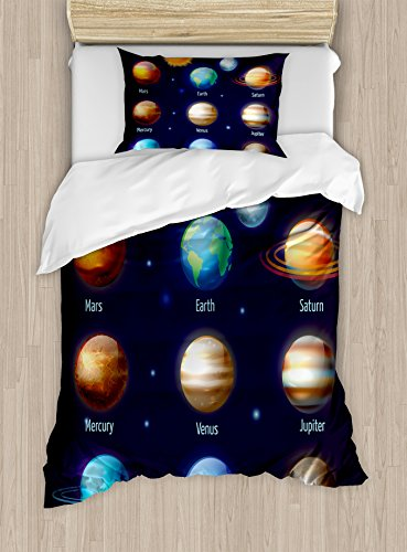 Educational Twin Size Duvet Cover Set by Ambesonne, Solar System Planets and the Sun Pictograms Set Astronomical Colorful Design, Decorative 2 Piece Bedding Set with 1 Pillow Sham, Multicolor by Ambesonne