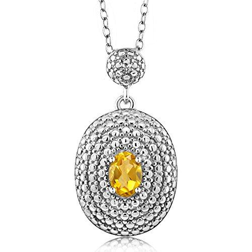 Gem Stone King 0.41 Ct Oval Yellow Citrine White Diamond Rhodium Plated Pendant ()