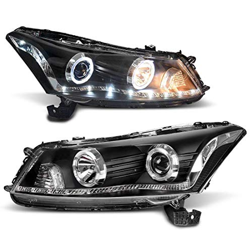 - Headlight For Honda Accord 2008-2012 Headlight - Halo - DRL - Black Housing - Front lights - Clear Lens - Warm White -Projector Headlamp