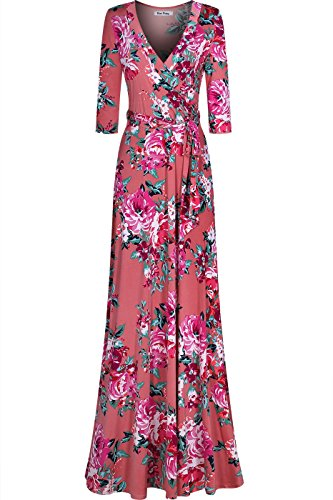Neck 4 Maxi 3 Printed Floral Wrap V Bon Dress Women's Blush Rosy Sleeve w8tExqHYx