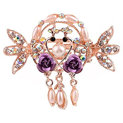 ACTLATI Elegant Crystal Floral Hair Claw Clip Fashion Women Girl Rhinestone Barrette Hairpin Bridal Wedding Accessories
