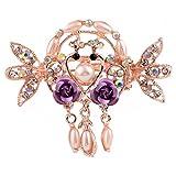 ACTLATI Elegant Crystal Floral Hair Claw Clip Fashion Women Girl Rhinestone Barrette Hairpin Bridal Wedding Accessories