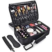 MelodySusie 3 Layers Makeup Organizer Case w/ Shoulder Strap (Black)