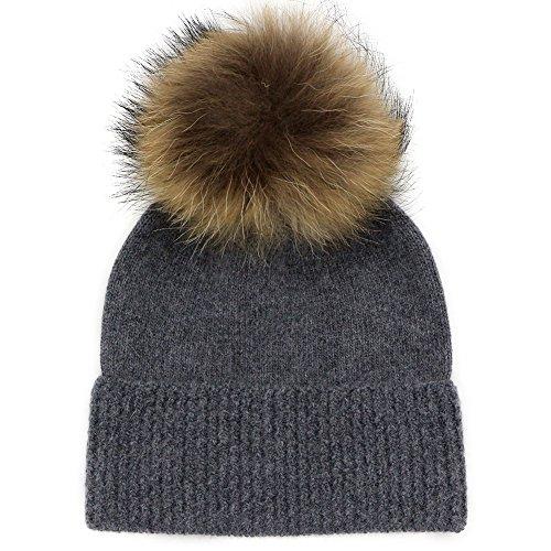 GZHILOVINGL Child Wool Beanie Hats With Raccoon Fur Pompom Cable Knit Winter - Sale Optics Salt