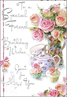 Jonny Javelin Special Friend Birthday Card JJ8429 Roses Cupcakes 9 X 625