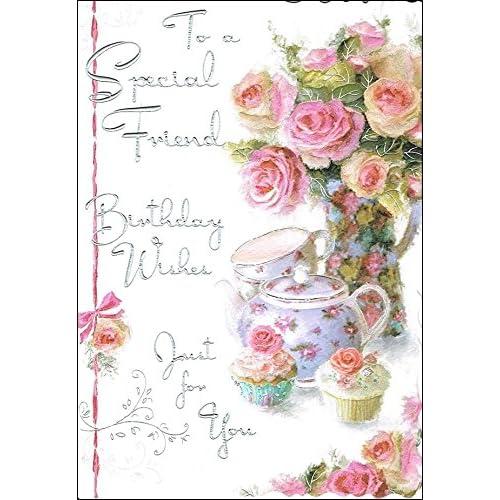 Jonny Javelin Special Friend Birthday Card JJ8429 Roses Cupcakes 9 X 625