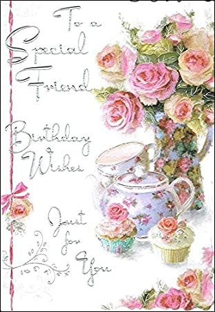 Jonny Javelin Special Friend Birthday Card JJ8429 Roses Cupcakes 9 X 625 Code