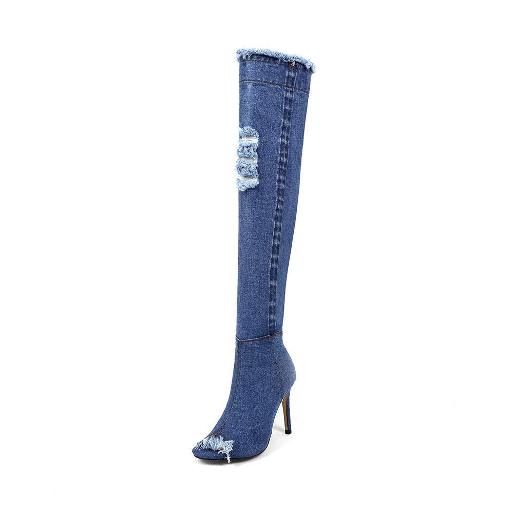 WHL.LL Frauen Denim Schlanker Absatz Kniestiefel Fischmaul Offener Zeh Seitlicher Reißverschluss Hoher Absatz Stiefel Slim Fit Ofenrohrstiefel (Absatzhöhe  11Cm)