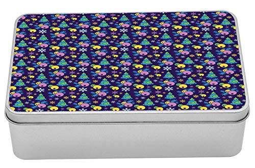 Lunarable Christmas Tin Box, Noel Trees and Holly Berries on Purple Background Times Illustration, Portable Rectangle Metal Organizer Storage Box with Lid, 7.2