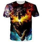 RAISEVERN Unisex 3D Galaxy Wolf Digital Print Cool Design Tee Shirts Clothes XXL