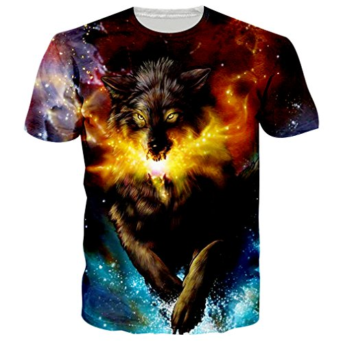 RAISEVERN Unisex 3D Galaxy Wolf Print Short Sleeve Crewneck T-Shirts Tees M