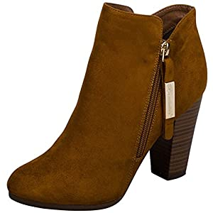 Breckelle's Women's Closed Toe Zipper Stacked Chunky Heel Bootie (8 B(M) US, Tan)