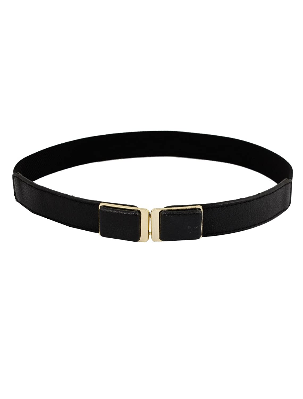 Woman Metal Rectangle Interlocking Buckle Stretch Waistband Belt