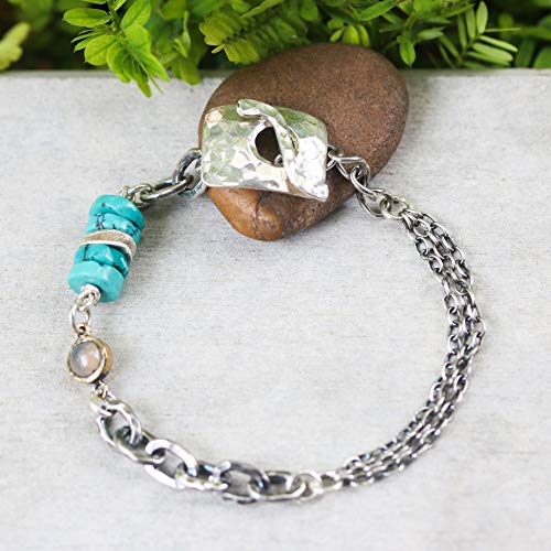 No.3 Turquoise beads bracelet and round tiny moonstone with oxidized sterling silver triple rolo style chain