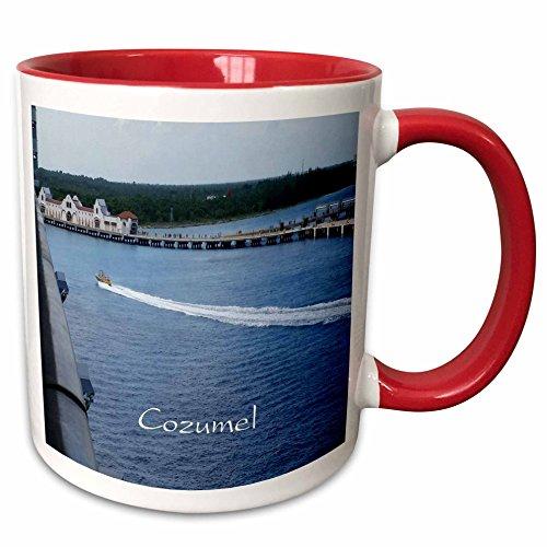 Cozumel 5 Light (3dRose Florene Cruise Ships Sites - Image of Entering Cozumel Mexico Port - 11oz Two-Tone Red Mug (mug_253687_5))