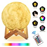 Moon Lamp, YISSVIC Moon Light 3D 16 Color Night Light LED Touch and Remote Control for Bedroom Home 15cm/5.9in