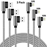 Lightning Cable Right Angle 10 ft Charger Cable 90 Degree Angle 3 Pack
