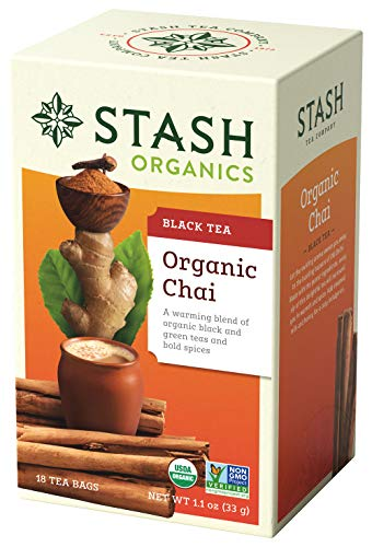Stash Tea Organic Chai Black Tea Blend of Organic Black & Green Teas 18 Count Tea Bags in Foil (Pack of 6) (Packaging May Vary) Individual Black Tea Bags for Teapots Mugs or Cups, Brew Hot or Iced Tea