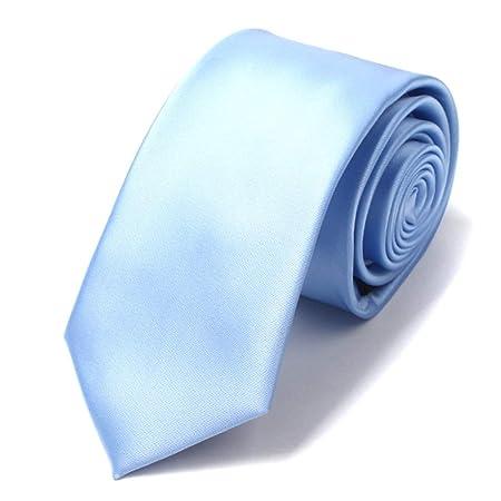 JINGJING Corbata de Color Liso para Hombre 100% Seda Tejido ...