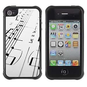 iArmor Hybrid Anti-Shock Defend Case / Music Notes / Apple Iphone 4 / 4S