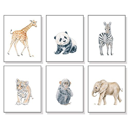 Zoo Nursery Art Prints Set of 6, Baby Animal Watercolors, Childrens Room Wall Decor, Jungle Elephant Giraffe Tiger Zebra Monkey - Usps Mail International Priority