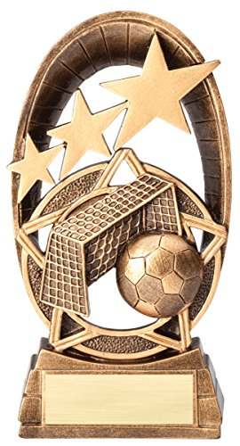 Etch Workz Customize Resin Design Award - 3D Radiant Stars Series Soccer Trophy - Engraved Antique & Gold Plated - Personalized Free (6-1/2