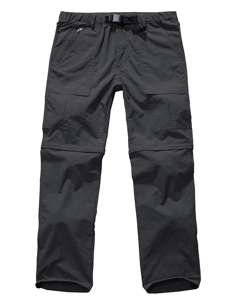 Men's Outdoor Anytime Quick Dry Convertible Lightweight Hiking Fishing Zip Off Cargo Work Pant #6062-Grey,32 by Jessie Kidden