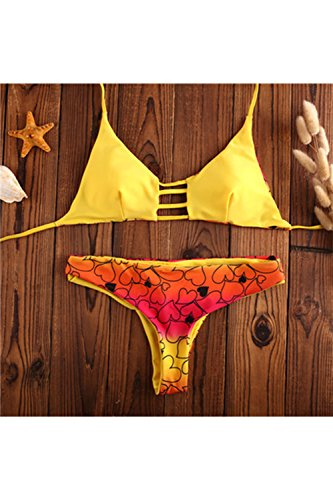 Women 's Retro Imprimir Sling String Thong Bikini Yellow