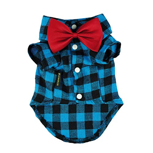 Fitwarm Western Plaid Dog Shirts for Pet Clothes Polo Apparel + Wedding Bowtie