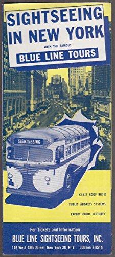 Blue Line Tours Sightseeing in New York tourist folder 1950s