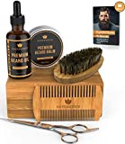 Naturenics Premium Beard Grooming Kit for Men - 100% Organic Unscented Beard Oil,Beard Balm Butter Wax, Beard Brush, Beard Comb, Beard Scissors for Beard & Mustache-with Bamboo Gift Set & eBook