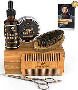 Naturenics Premium Beard Grooming Kit for Men - 100% Organic Unscented Beard Oil,Beard Balm Butter Wax, Beard Brush, Beard Comb, Beard Scissors for Beard & Mustache-with Bamboo Gift Set & eBook