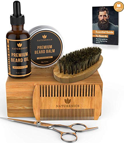 (Naturenics Premium Beard Grooming Kit for Men - 100% Organic Unscented Beard Oil,Beard Balm Butter Wax, Beard Brush, Beard Comb, Beard Scissors for Beard & Mustache-with Bamboo Gift Set & eBook)